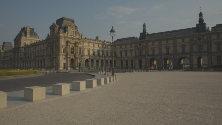 Louvre Museum Musée du Louvre Paris Sunrise Empty Vide Coronavirus Confinement COVID19 03 | Shutterstock HD Video #1049307424