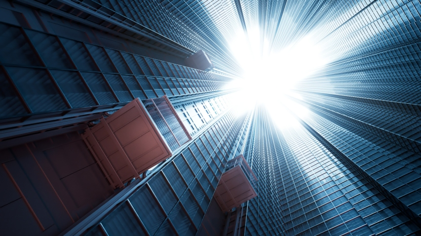 Three courtyard elevator cabins traveling upwards on a skyscraper glass facade. Science-fiction, dystopian look. Bright light pouring through the roof entrance. Endless, seamless, looping animation.  Royalty-Free Stock Footage #1049319934