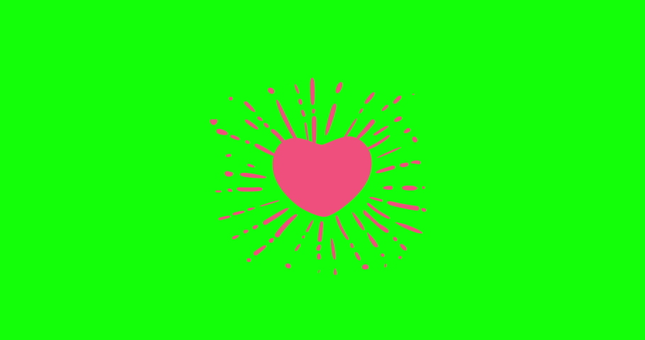Heart, many hearts . green screen Animated hearts of hearts. hand drawing cartoon, animated cartoon.explosion salute in a flat style