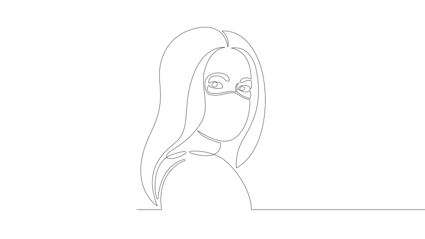 Young woman in a protective face mask from coronavirus.Self drawing simple animation of single continuous one art doodle line drawing hand.Concept sign doodle cartoon character flat modern minimal | Shutterstock HD Video #1049344129