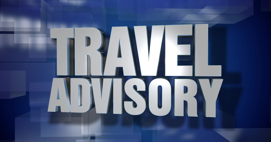 A blue dynamic 3D Travel Advisory news transition and title page animation. 5 and 2 second options included. Green screen. | Shutterstock HD Video #1049371984