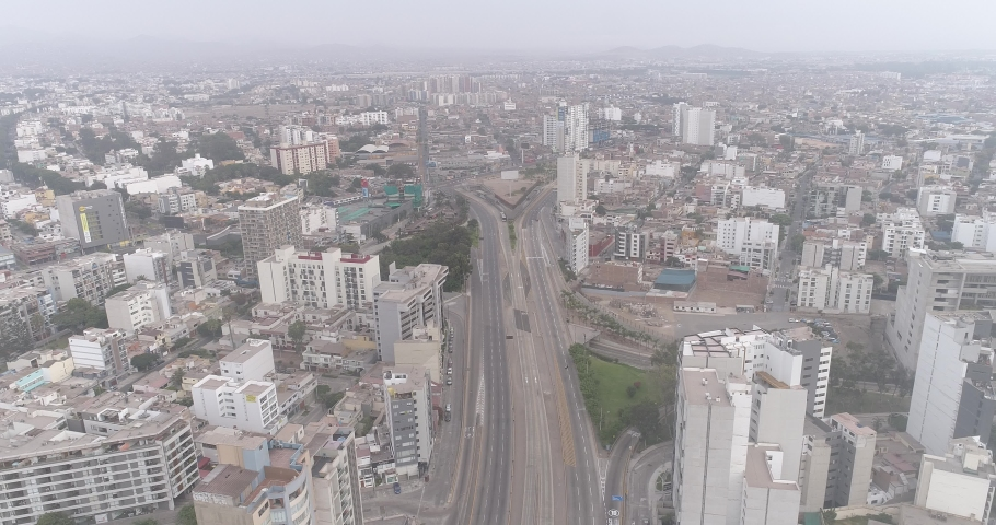 Public transport in Lima Peru, totally empty highway during COVID19 quarantine lockdown.