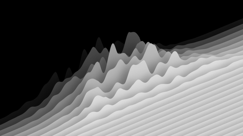 Waving white layers forming minimalistic topographic surface on black background, isometric view. Abstract CG animation loop. 3d rendering.   Shutterstock HD Video #1049391277