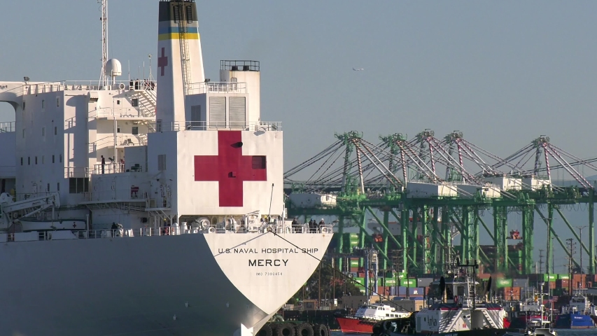 SAN PEDRO, CALIFORNIA USA: March 27, 2020. The U.S Navy's hospital ship USNS Mercy arriving at the Port of Los Angeles with 1000 hospital beds for non Coronavirus COVID-19 patients during the pandemic