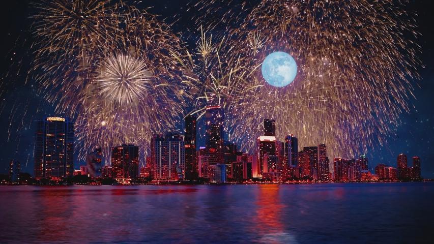 Miami (FL) Skyline Fireworks Celebration 4th Of July Independence Day Starry Night Background Mood