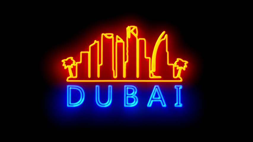 DUBAI. neon lights backgrounds.  Royalty-Free Stock Footage #1049430211