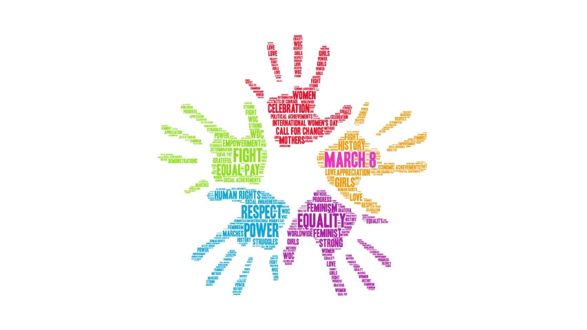 March 8 International Women's Day animated word cloud on a white background. Royalty-Free Stock Footage #1049434498