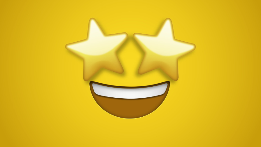 Animated colorful looping star struck face emoji background for apps or ad commercial. Bringing life to your screen. Fun character motion graphic design. | Shutterstock HD Video #1049442625
