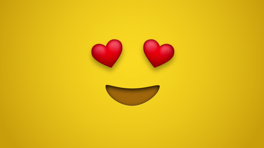 Animated colorful looping smiling face with heart eyes emoji background for apps or ad commercial. Bringing life to your screen. Fun character motion graphic design.