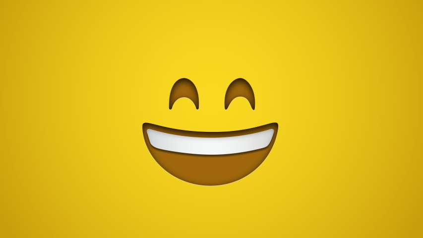 Animated colorful looping grinning face with smiling eyes emoji background for apps or ad commercial. Bringing life to your screen. Fun character motion graphic design. Royalty-Free Stock Footage #1049443192