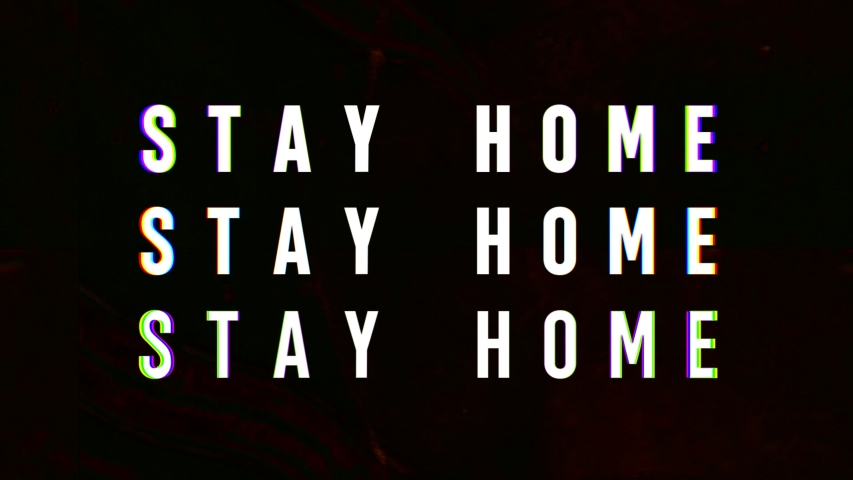 Stay Home animation of text of contagion message for pandemic. Creepy microscopic background. Disease and virus spread.  | Shutterstock HD Video #1049445430