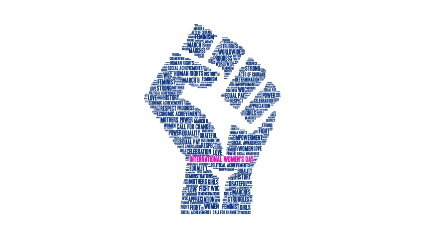 International Women's Day animated word cloud on a white background. Royalty-Free Stock Footage #1049475850