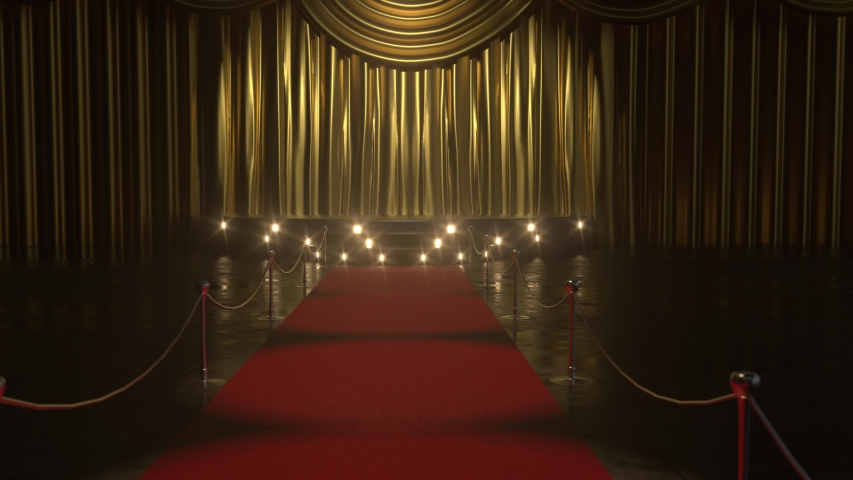 4k Red carpet.Opening luxure  gold velvet curtains with green chroma key and track points. Gold Stage Curtain 3d animation