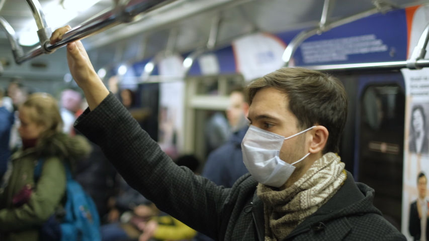 America Infect Corona Virus 2019 Ncov. American Man. Face Mask Covid-19. Subway Station USA. Epidemic Coronavirus. Pandemic Flu Corona Virus. Human Masked 2019-Ncov. Train Metro. People Sick Covid 19. | Shutterstock HD Video #1049522830