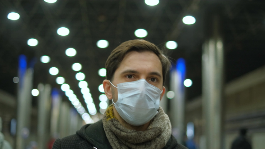 Europe Infect Corona Virus 2019-ncov. European Man. Face mask Covid-19. Subway Station. Epidemic Coronavirus Mers. Pandemic Flu Corona Virus. Human Masked 2019-ncov. Train Metro. People Sick Covid 19. Royalty-Free Stock Footage #1049532670