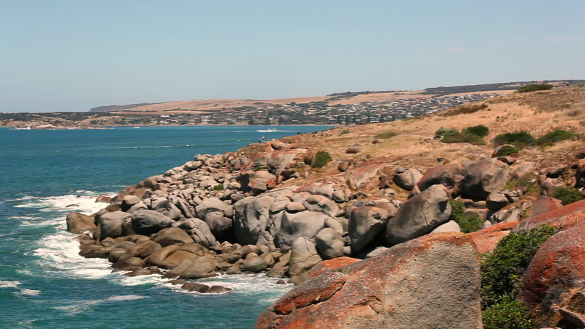 Australian coast with water smashing on rocks | Shutterstock HD Video #1049534377