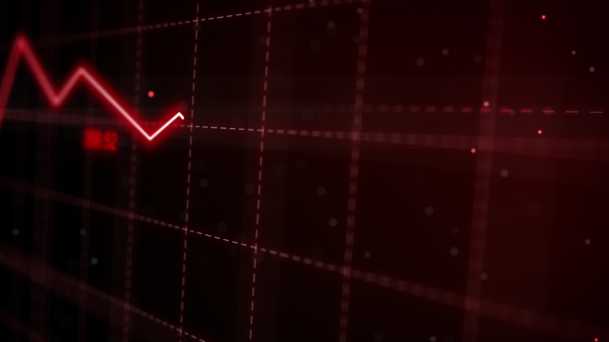 Stock markets Downtrend dynamic chart on dynamic red background. Concept of financial stagnation, recession, crisis, business crash and economic collapse. Downward trend 3d animation.