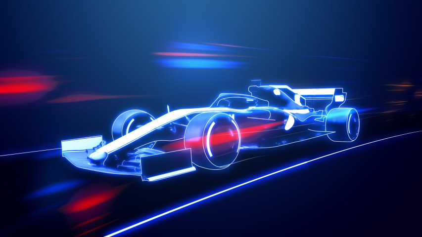Abstract animation of a futuristic blue formula 1 speed in 4K UHD, cgi made with wireframes on an animated futuristic to highlight the automobile and it's technology and engineering 3D rendering