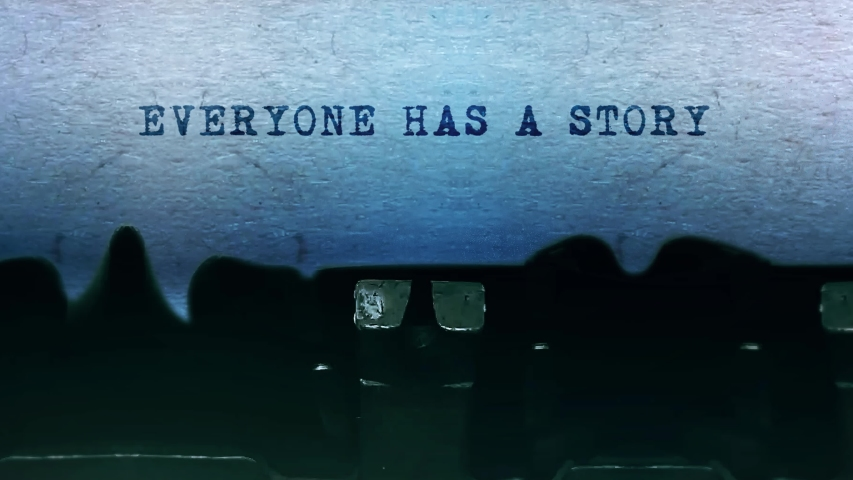 Everyone has a Story Word closeup Being Typing and Centered on a Sheet of paper on old vintage Typewriter mechanical 4k Footage Background Animation. | Shutterstock HD Video #1049568571