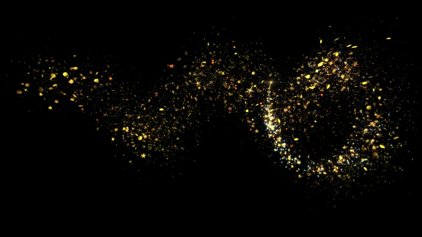Golden Glitter Sparkling Magic light. Shining gold Dust particles Trail Crossing sparkles on black background 4K. Birthday, Anniversary, new year, event, Christmas, Festival, Diwali.