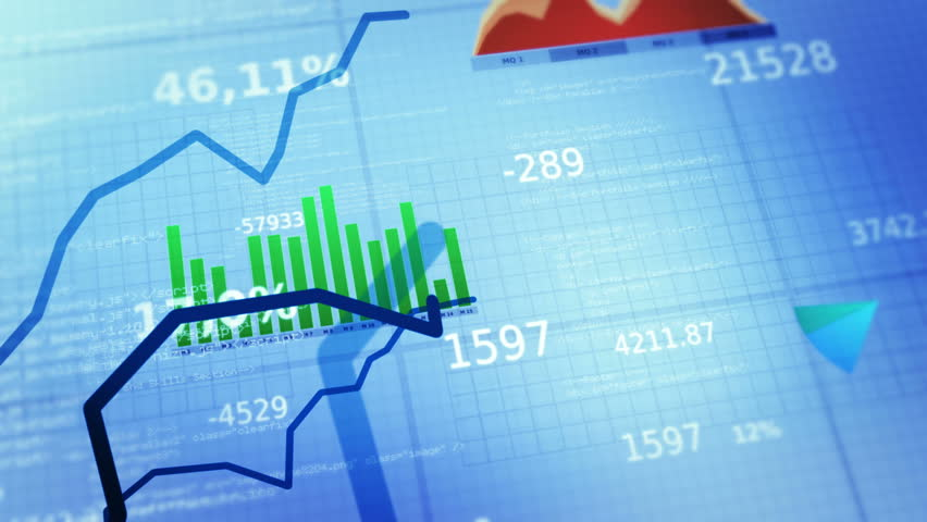 Decreasing charts. Financial figures and diagrams showing decreasing profits. Loopable. Blue-White.  2 colors.  More options in my portfolio. | Shutterstock HD Video #10495877