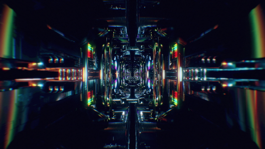 4K seamless loop animation. Сamera moves through the sci-fi, high-tech endless corridor. Perfect for stage, event, party, concerts, VJ, ect. | Shutterstock HD Video #1049608087