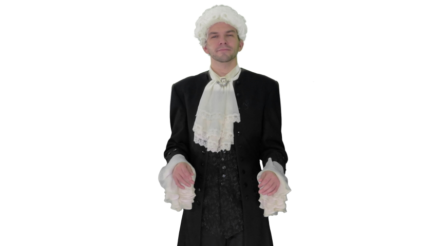 Man in 18th century camisole and wig doing welcoming gesture on white background. | Shutterstock HD Video #1049612464