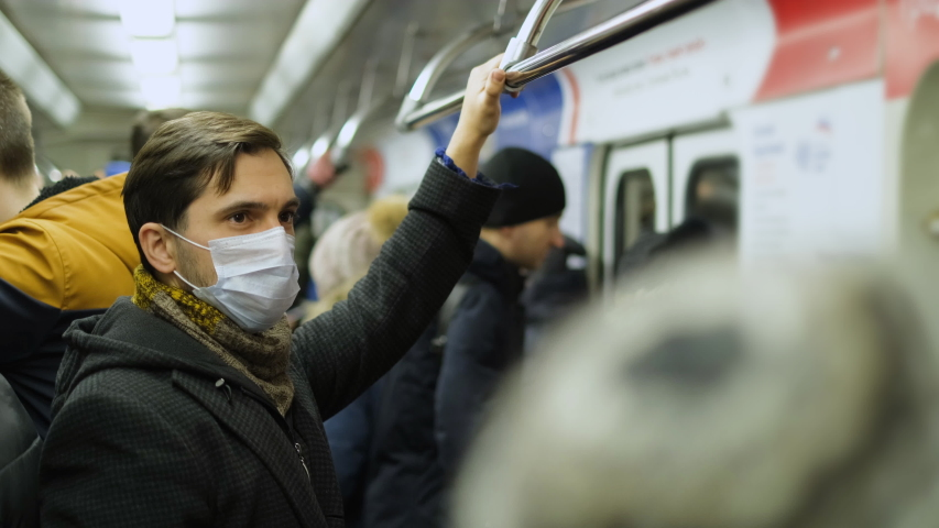 France Infected Corona Virus 2019 ncov. French Man Ill. Face Mask Covid-19. Subway Station. Epidemic Coronavirus. Pandemic Flu Corona Virus. Human Masked 2019-ncov. Train Metro. People Sick Covid 19. | Shutterstock HD Video #1049659627
