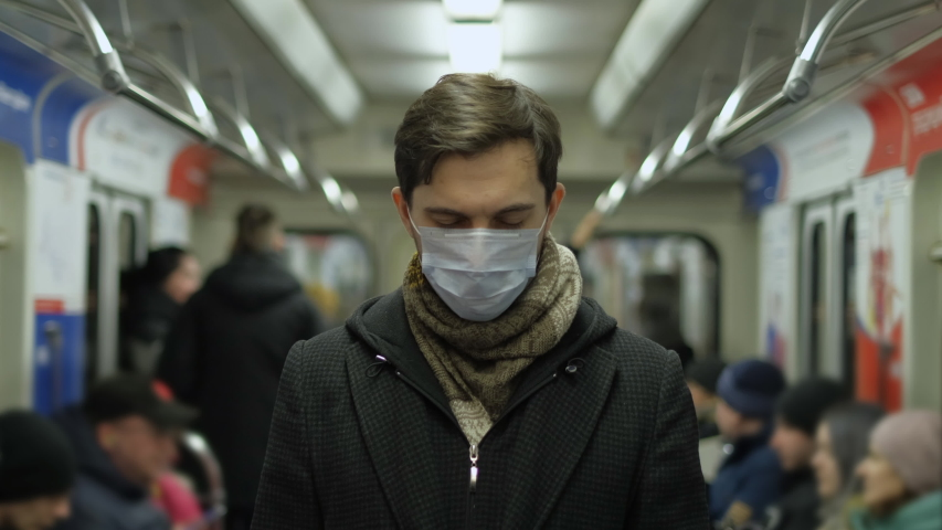 Europe Infect Corona Virus 2019-ncov. European Man. Face mask Covid-19. Subway Station. Epidemic Coronavirus Mers. Pandemic Flu Corona Virus. Human Masked 2019-ncov. Train Metro. People Sick Covid 19. Royalty-Free Stock Footage #1049659639