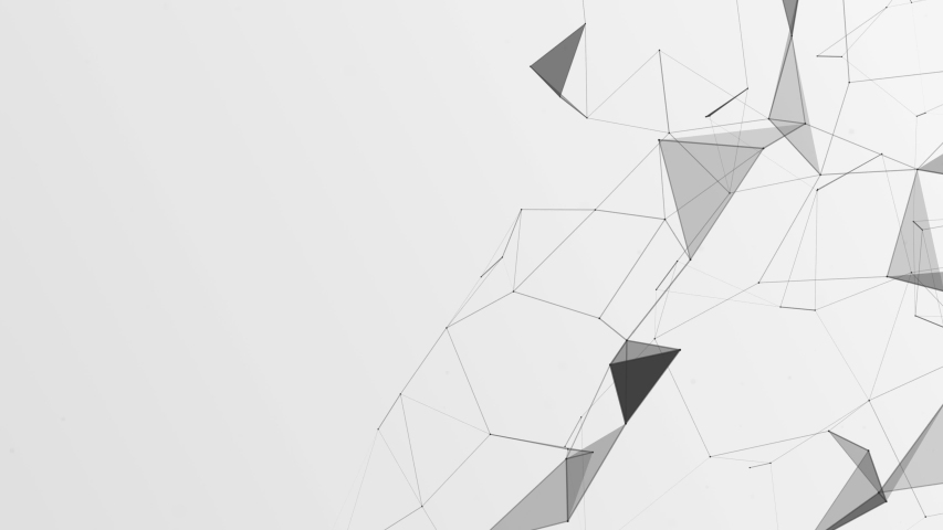 3D render of abstract Plexus black and white geometrical shapes animation. Connection web concept. Digital, Communication Technology Network Background With Moving Triangles, Lines And Dots.