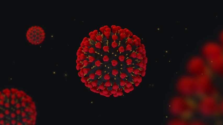Beauty macro 3d render of coronavirus and particles | Shutterstock HD Video #1049668297