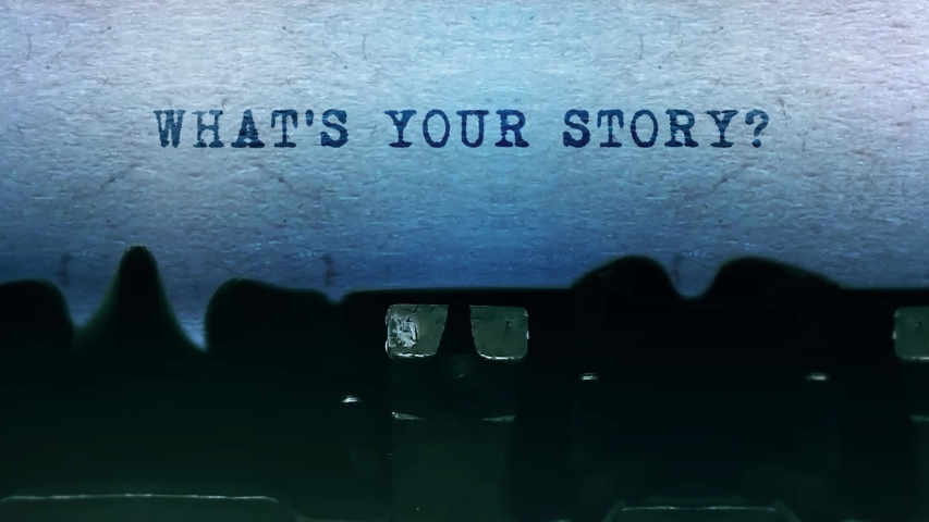 What's Your Story Word closeup Being Typing and Centered on a Sheet of paper on old vintage Typewriter mechanical 4k Footage Background Animation. | Shutterstock HD Video #1049684944