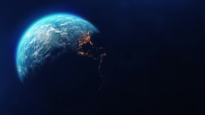 Realistic Motion Graphics of Planet Earth Rotating in the Night Starfield Intros, Endings, Logo Presentation, Background | Shutterstock HD Video #1049685103