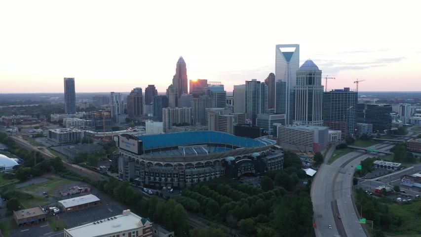 Charlotte, NC / USA - August 30, 2019: North Carolina Stadium Charlotte Sunny Partly Cloudy Summer Sunrise Sunset Aerial 4K