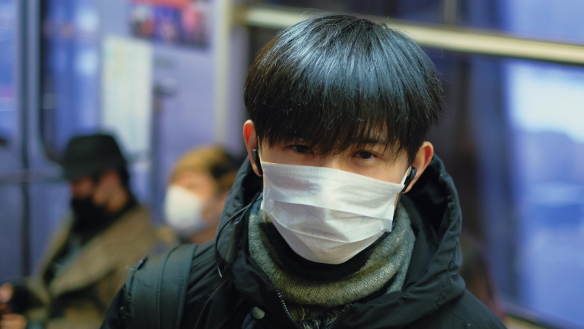 Asia Infect Corona Virus. Face Mask Covid-19 Subway Tube. Chinese Passenger. Epidemic Coronavirus Asian Man. Pandemic Flu Corona Virus. Crowd Masked 2019-ncov. Train Metro China. People Sick Covid 19. Royalty-Free Stock Footage #1049692195