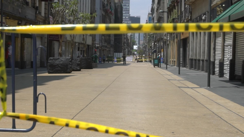 Mexico City, CDMX/ Mexico. April 02, 2020. Streets of Mexico city´s Downtown look empty after Covid 19 pandemic.