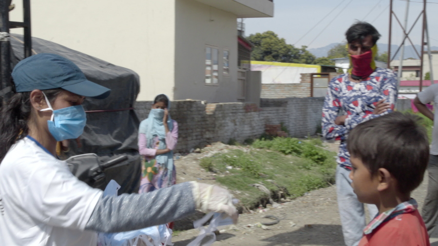 Dehradun, Uttarakhand/India- April 01 2020: India corona virus 21 day lock down . slum house poor people in their home .