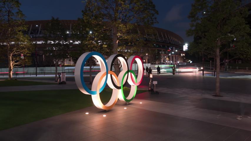 TOKYO, JAPAN - 2020 circa: New Olympic National Stadium completed. 4K hyperlapse