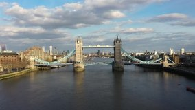 Establishing Aerial drone View of Tower Bridge, Shard, London Skyline, 20 Fenchurch or Walkie Talkie, sky garden by the Thames River, United Kingdom, UK