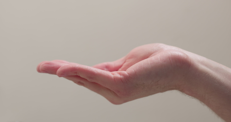 Slow motion man hands apply sanitizer gel on hands | Shutterstock HD Video #1049834143