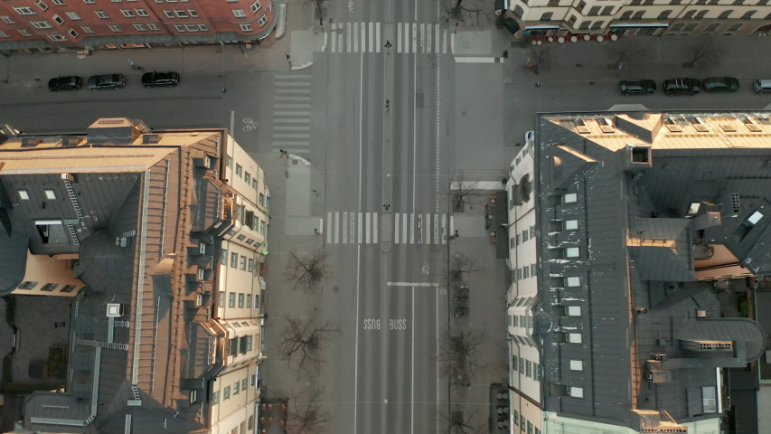 Aerial view of empty street in Stockholm during Covid-19 Coronavirus outbreak | Shutterstock HD Video #1049836633