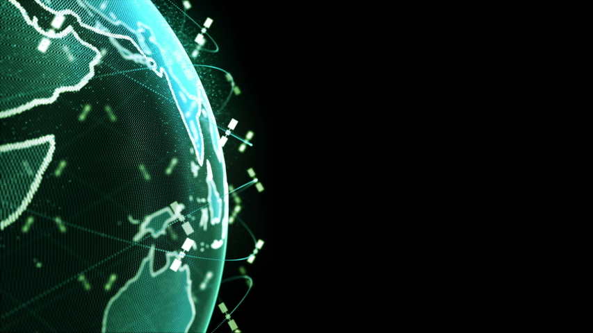 wireless internet data wifi connectivity by a global system of telecommunication satellites in 3D rendering concept animation on black background in 4K Royalty-Free Stock Footage #1049843842