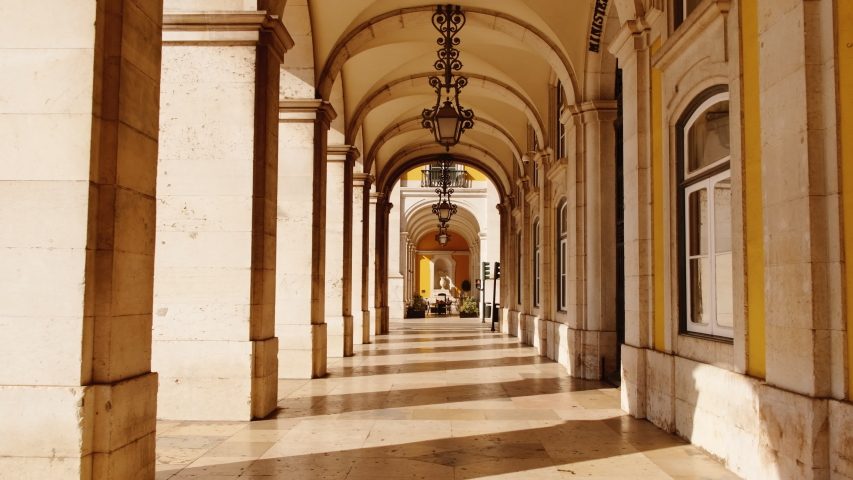 EUROPE IN LOCKDOWN - One of the most popular European arcades lies all but deserted after a spike in the number of cases of CORONAVIRUS / COVID-19 infections, with a dramatic impact on social life | Shutterstock HD Video #1049845093