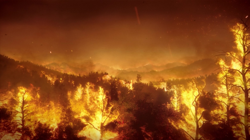 Aerial panoramic view of a forest fire at night, heavy smoke causes air pollution, and fire in full blaze.