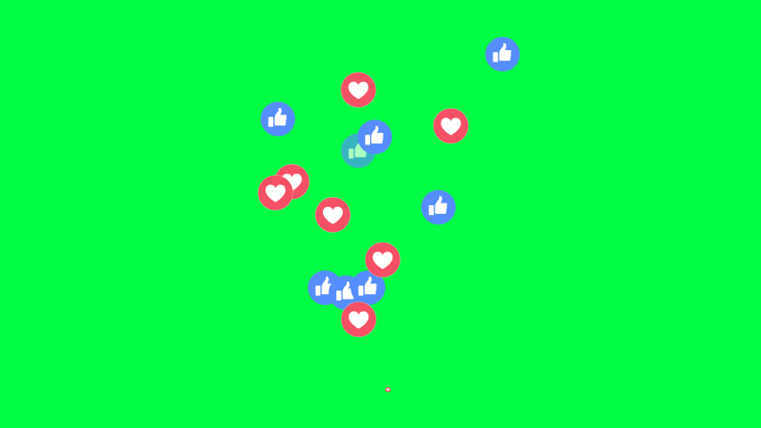 Maha Sarakham/Thailand - 04/07/2020 : 4K Social media Live style animated heart on Facebook live video isolated on green background. 60 FPS