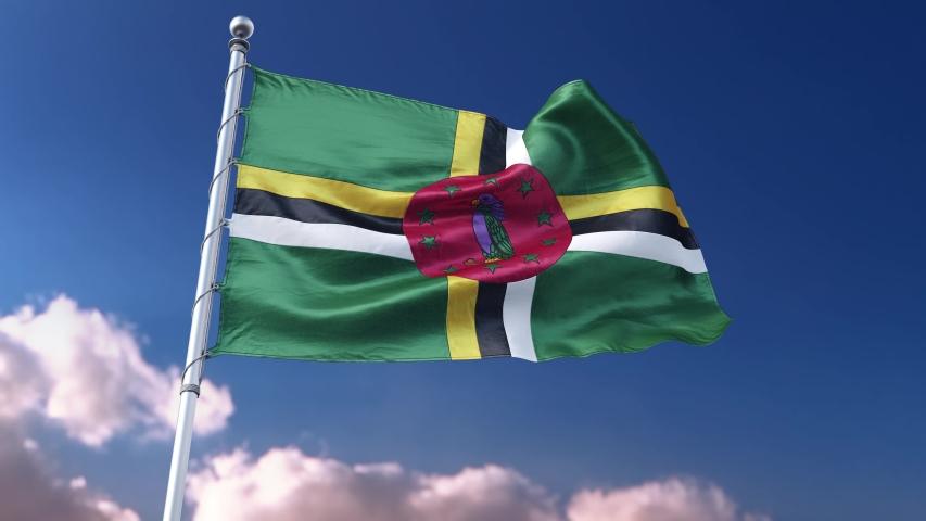 Flag Dominican roseau 4k 3d rendering | Shutterstock HD Video #1049958283