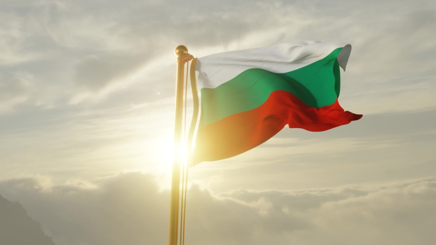 Flag of Bulgaria Waving in the wind, Sky and Sun Background, Slow Motion, Realistic Animation, 4K UHD 60 FPS Slow-Motion   Shutterstock HD Video #1049966500