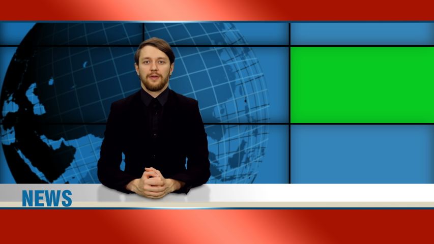 Male news presenter reports in broadcasting studio with green screen, 4k footage | Shutterstock HD Video #1049967586