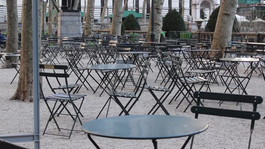 Empty Bryant Park During New York City Coronavirus Quarantine