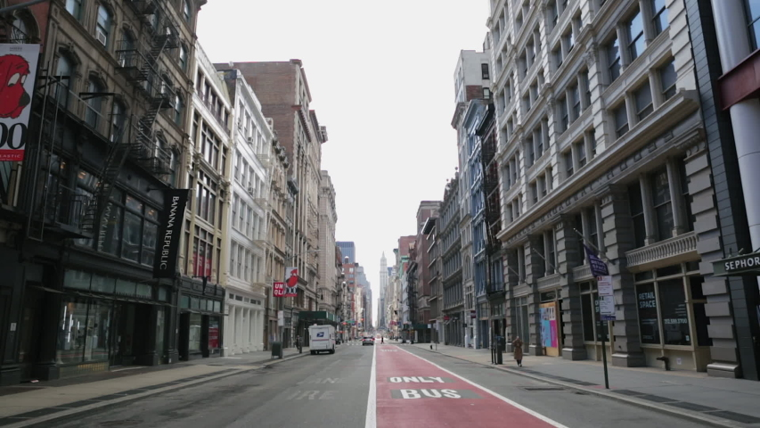 New York, NY/ USA - April 6 2020: Empty Broadway in SoHo due to Coronavirus COVID-19 outbreak in New York and stay at home and social distancing policy